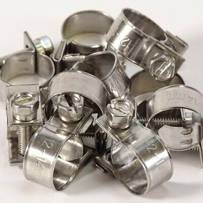 Stainless Steel Fuel Line Hose Clips - Mini Pipe Clamps Classic Rubber PVC Tube • 5.92£