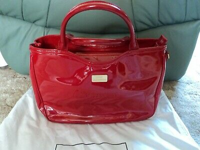 £90 • Buy Lulu Guinness Small Red Patent Wanda Handbag - With Strap And Dust Bag