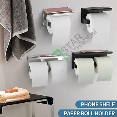 AU36.50 • Buy Toilet Paper Roll Holder SUS304 Shelf Storage Cover Twin Hook Wall Chrome Black