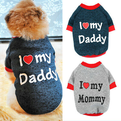 I Love Mummy/Daddy Dog Jumper Chihuahua Clothes Pet Puppy Cat Sweater For Yorkie • 3.49£