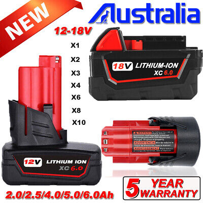 AU43.49 • Buy Battery For Milwaukee 18V XC6.0Ah Lithium M18B6 48111850 12V M12B2 48-11-2440 AU