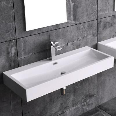 £89.95 • Buy Durovin Bathrooms White Sink Wall Hung Countertop Stone Resin Basin Only 1000mm