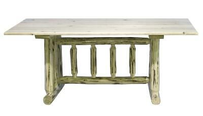 $882.55 • Buy Rustic Log Dining Table Amish Made Trestle Kitchen Tables Unfinished Pine