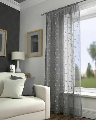 £14.99 • Buy Grey Silver Voile Harrogate Leaf Embroidered Voile Curtain Slot Top Single Panel