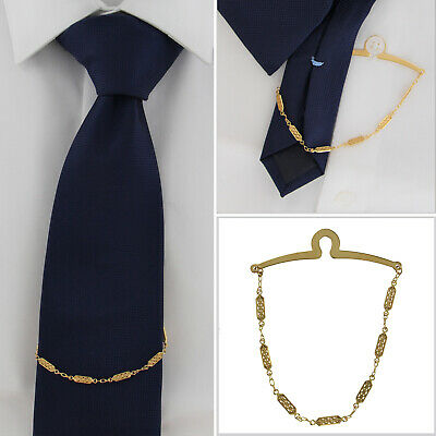 $24.95 • Buy Ky & Co Made In USA Tie Chain Retro Link Button Hole Attachment Gold Tone 8.5
