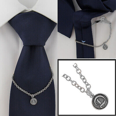 $24.95 • Buy Ky & Co Initial D Silver Tone Tie Chain Button Hole Attachment 7.5  USA Made
