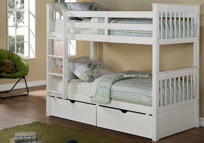 Single Wooden Bunk Beds With Storage Drawers - New Grey Or White Thomas Bunks • 428£