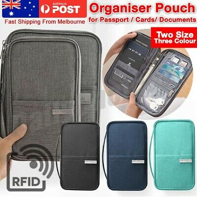 AU15.45 • Buy Family Travel Organiser Passport Document Holder RFID Cards Tickets Wallet Pouch