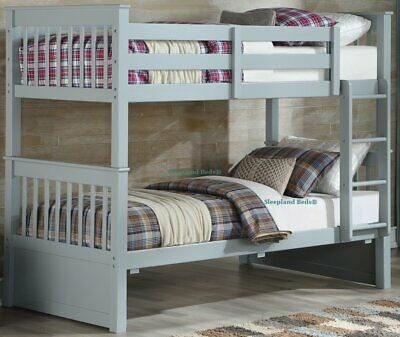 Grey Wooden Bunk Beds - Solid Pine Wood New Bunkbeds For Children And Teenagers • 409£