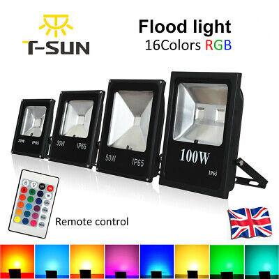 T-SUN 16 Colors RGB Color Change LED Flood Light Spot Lights Outdoor + Remote UK • 16.99£