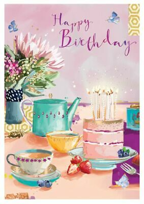 Birthday Card - Tea & Cake - At Home Ling Design Quality NEW • 2.50£