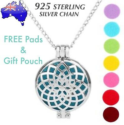 AU10.50 • Buy Sunflower Aromatherapy Essential Oil Diffuser 925 Sterling Silver Chain Necklace