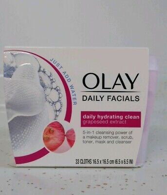 AU13.11 • Buy Olay Daily Facials 5 In1 Hydrating Clean Grapeseed Extract ( 33 Cloths )