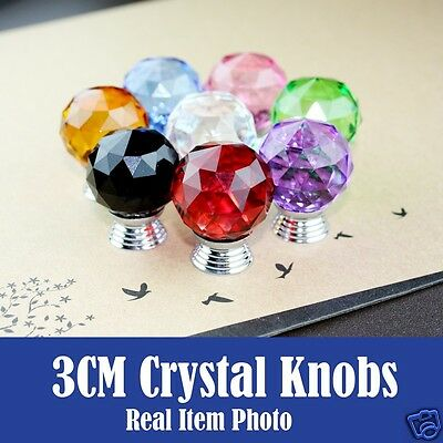 Crystal Glass Knobs For Drawer Cupboard Cabinet Kitchen Furniture, Blue, Brown • 1.99£