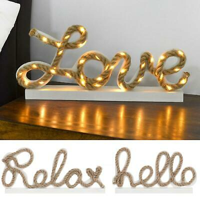 Wooden Sign Home Decoration White With Rope Writing & Warm White LED Lights • 13£