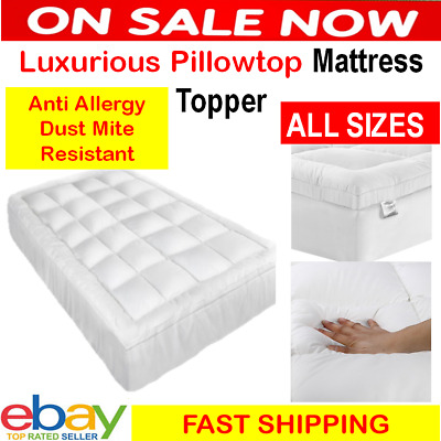 AU62.45 • Buy Pillowtop Matress Mattress Topper Protector 1000GSM Pad Cover 45cm Underlay Bed