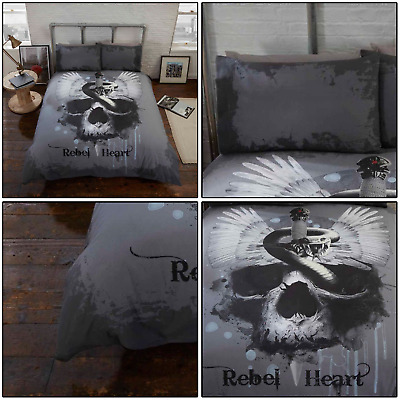 Grey Multi Dark Rebel Heart Snake Skull Gothic Duvet Quilt Cover Set Bedding Set • 21.99£