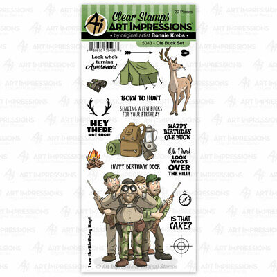 Men Old Buck Birthday Clear Unmounted Rubber Stamp Set ART IMPRESSIONS 5043 New • 13.02£
