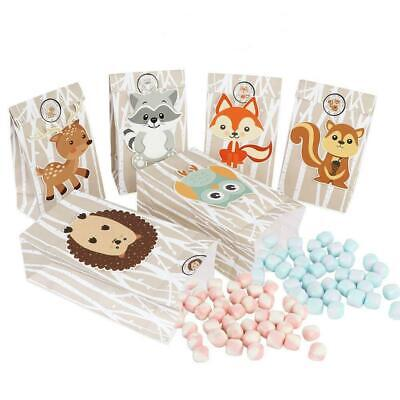 12 X Woodland Forest Animal Paper Bag Party Favour Treat Gift Candy Bag Lolly • 2.65£