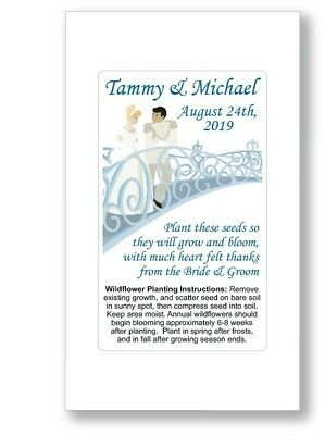 50 - Fairy Tale Wedding Bridal Favors Seed Packet Personalized Cinderella Blue • 18.28£