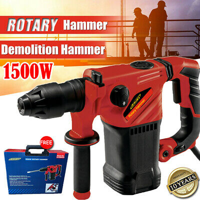 View Details 1500W Electric Hammer Drill Demolition Rotary Chuck SDS Plus Bit Set 3 Chisels • 50.90£
