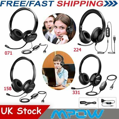Mpow USB Headset Headphones With Noise Cancelling Mic For PC Skype Call Center • 23.99£