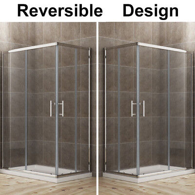 £135.99 • Buy 800x760mm Corner Entry Shower Enclosure Walk In Cubicle With Double Sliding Door