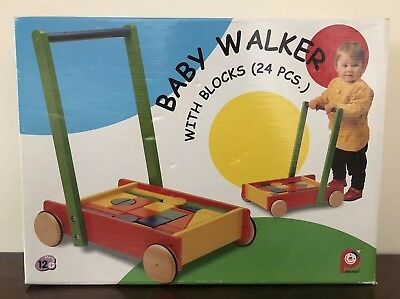 Pintoy Baby Walker (with 24 Wooden Building Blocks) • 27£