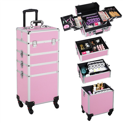 $88.99 • Buy 4 In 1 Professional Makeup Case Rolling Cosmetic Train Case Box Lock Large Case