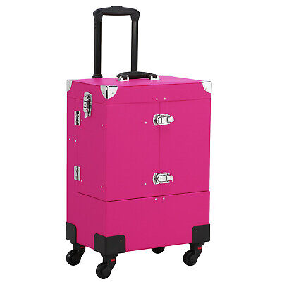 Professional Makeup Train Case Rolling Cosmetic Travel Trolley With Mirror Pink • 65.99$