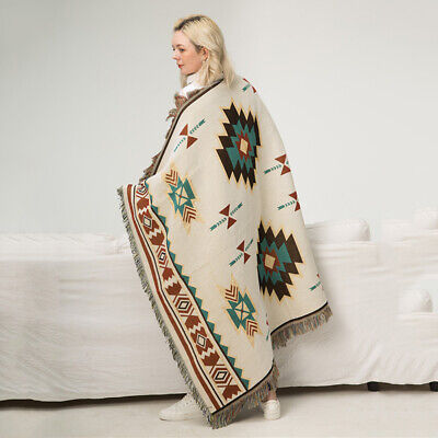 Ethnic Aztec Blanket Indian Navajo Wall Hanging Cotton Throw Bedcover Picnic Rug • 23.99£