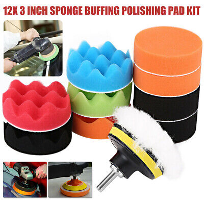 $4.99 • Buy 12x 3 Inch Sponge Buffing Polishing Pad Kit For Car Polisher With Drill Adapter