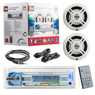 $36.95 • Buy Dual Marine Boat Mechless Radio Receiver Stereo Remote 6.5  Speakers AM FM Pack
