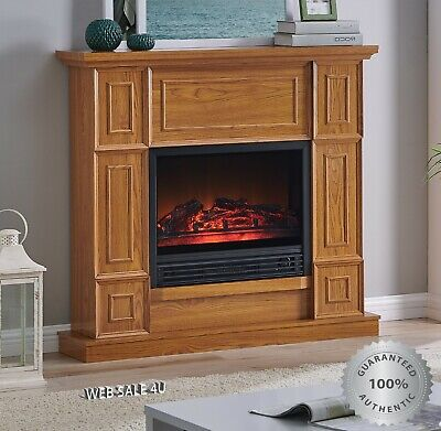 $328.85 • Buy Electric Fireplace Heater Blower Mantel LED Flame Timer Brown Oak Wood Deluxe