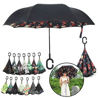 AU8.96 • Buy Reverse Umbrella C-Handle Double Layer Waterproof UV Protection Upside Inverted