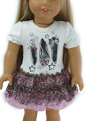 Shoe & Leopard Print Knit & Tulle Dress Made For 18  American Girl Doll Clothes • 8.85£