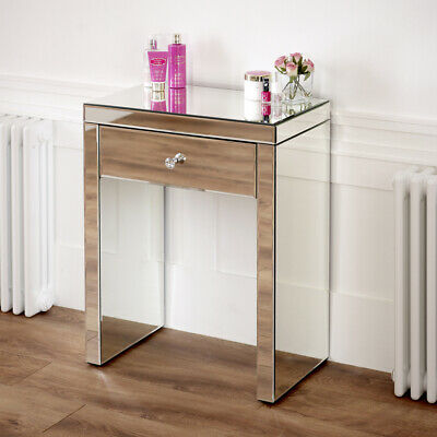 Venetian Mirrored Compact 1 Drawer Console Table - Hall Glass Dressing - VEN16 • 149£