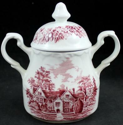 AU32.23 • Buy JG Meakin ROMANTIC ENGLAND RED Sugar Bowl With Lid GREAT CONDITION