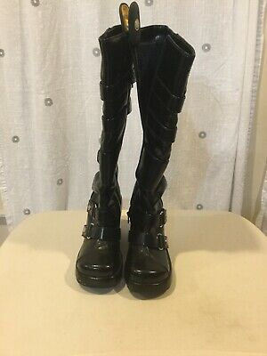 $50 • Buy Na Na Platform Wedge Boots Black With Buckles Size 8