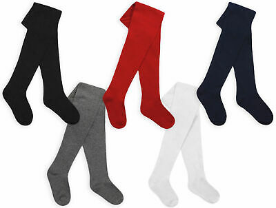 £4.99 • Buy Girls Tights Cotton Rich Plain Knitted Tights Age 2 3 4 5 6 7 8 9 10 11 12 Years