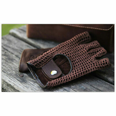 Retro Real Leather Men Fingerless Driving Cycle Gloves Unlined Chauffeur • 7.80£