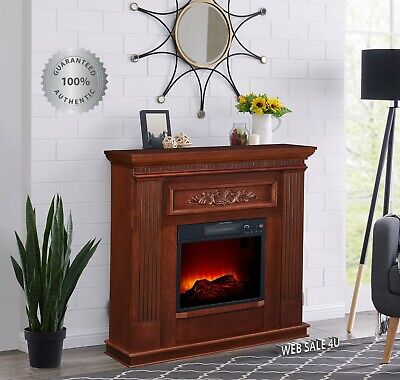 $285.86 • Buy Electric Fireplace Heater Blower Mantel LED Flame Timer Dark Cherry Wood Deluxe