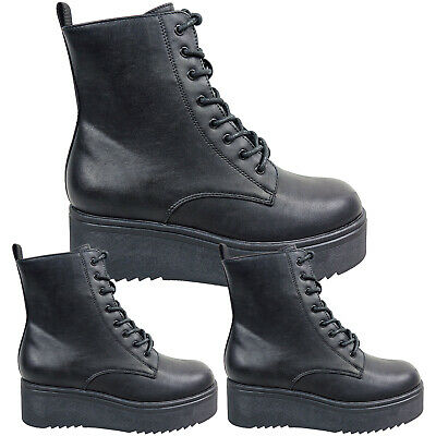 £23.95 • Buy Women Ladies Chunky Sole Platform Wedge Lace Up Ankle Boots Goth Punk Shoes Size