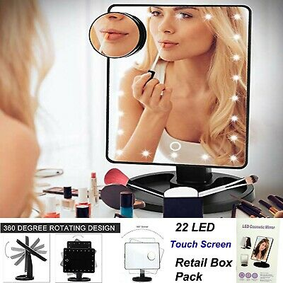 22 Led 10x Magnifying Touch Screen Light Make-up Cosmetic Tabletop Vanity Mirror • 11.99£