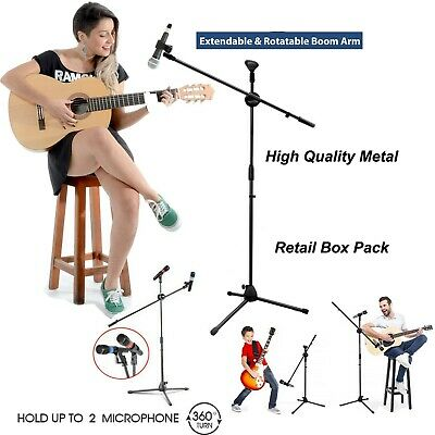 Adjustable Microphone Stand Boom Arm Holder & Mic Clip Stage Studio Party Tripod • 10.90£