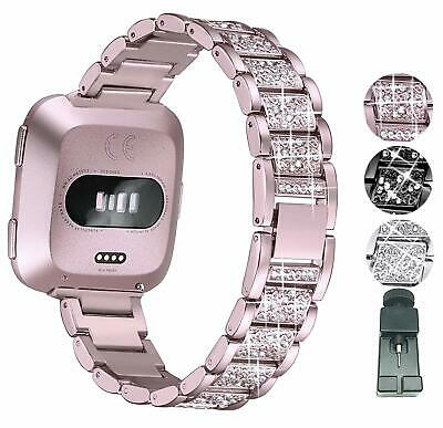 $ CDN19.99 • Buy Fitbit Versa Bracelet Replacement Band With Bling Rhinestones Metal Wristband