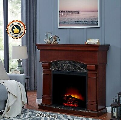 $423.35 • Buy Electric Fireplace Heater Blower 47  Mantel Wood LED Flame Timer Remote Control