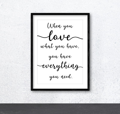 When You Love Typography Inspirational Wall Art Print Poster. Home Decor. Family • 5£