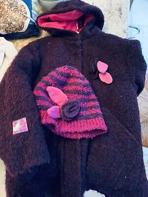 RARE MARESE Designer GIRLS PLUM BOUCLE WOOL COAT AND Appliqué HAT AGE 6 Years • 20£