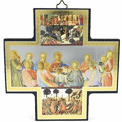 £7.95 • Buy THE LAST SUPPER WOOD CROSS WALL CRUCIFIX ICON 6  JESUS Christ Passover Meal Gift